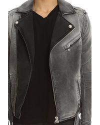Balmain - Gray Moto Jacket for Men - Lyst