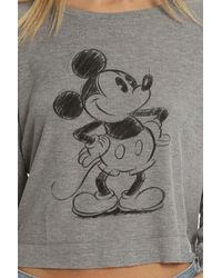 David Lerner - Gray Mickey Sketch Crop Longsleeve - Lyst