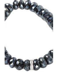 Sydney Evan - Black Rondelle White Gold Charm Bracelet - Lyst
