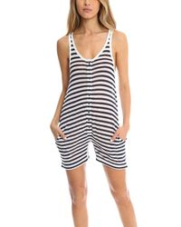 T By Alexander Wang | White Striped Baggy Oversize Romper | Lyst