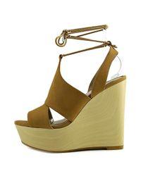 ALDO - Natural Gwyni Open Toe Leather Wedge Sandal - Lyst