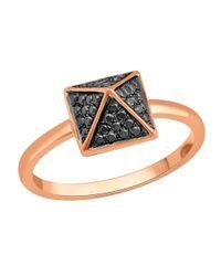 Socheec - Metallic Spike Ring With Black Diamonds In 18k - Lyst