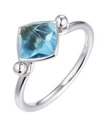 Jewelista - 14k White Gold Blue Topaz Pyramid Ring - Lyst