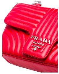 Prada - Red Diagramme Leather Shoulder Bag - Lyst