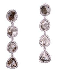 Socheec - Metallic Diamond Drop Linear Earrings - Lyst