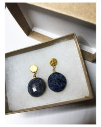 Blue Candy Jewelry - Blue Lolipop Lapis Lazuli Gold Post Earrings - Lyst