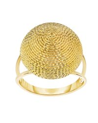 JewelryAffairs - 14k Yellow Gold Round Graduated Top Textured Dome Double Row Ring - Lyst