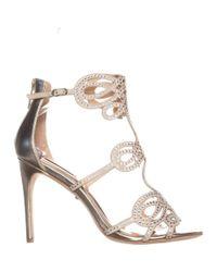 Badgley Mischka - Metallic Teri Rhinestone T-strap Sandals, Platino - Lyst