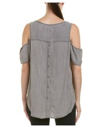 BILLY T - Gray Cold-shoulder Top - Lyst
