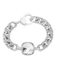 Eklexic - Metallic Cushion Cut Crystal Pendant Bracelet (silver) - Lyst