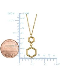 JewelryAffairs - 10k Yellow Gold Double Hexagon Geometric Pendant Necklace, 18 - Lyst