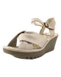 Fly London - White Yesh Women Open Toe Leather Ivory Wedge Sandal - Lyst