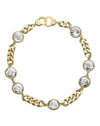 Eklexic | Metallic 7 Crystal Curb Chain & Handcuff Clasp Necklace (gold) | Lyst