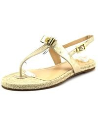 Vince Camuto - Metallic Arabell Women Open Toe Canvas Tan Thong Sandal - Lyst
