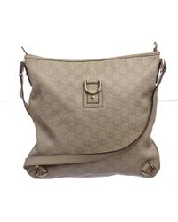 Gucci - White Pre Owned - Ivory Ssima Monogram Leather Crossbody Messenger Bag - Lyst