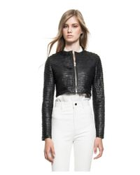 Lamarque - Black Doris Cropped Leather Jacket - Lyst