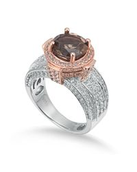 Suzy Levian - Brown Two-tone Sterling Silver Round 4.85 Cttw Smoky Quartz Ring - Lyst