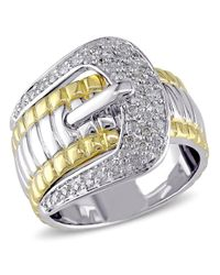 Catherine Malandrino - Metallic Diamond Buckle Ring - Lyst