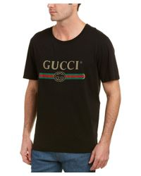 6eafd567990b Lyst - Gucci Logo Washed Cotton T-shirt in Black for Men