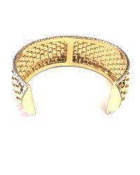 JewelryAffairs - Metallic 14k Yellow And White Gold Basket Weave Cuff Bangle Bracelet - Lyst