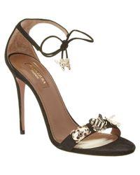 Aquazzura | Black Fauna 105 Suede Heeled Sandal | Lyst