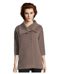 Cinzia Rocca - Brown Wool Cape Like Coat With Wide Sleeve - Lyst