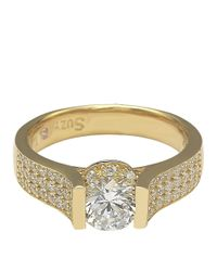 Suzy Levian - Bridal 14k Yellow Gold Over Silver Brown And White Cubic Zirconia Ring - Lyst