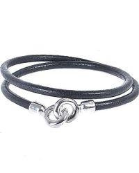 Eklexic   Black Men's Leather Cord Wrap Bracelet for Men   Lyst