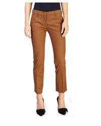 Prada - Women's Cotton Slim Fit Chino Pants Brown - Lyst