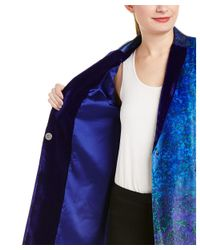 Elie Tahari - Blue Leather-trim Coat - Lyst