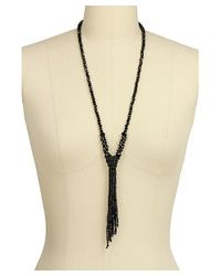 Saachi | Black Crystal Knotted Tassel Necklace | Lyst