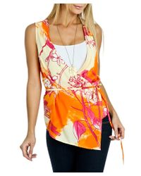 Blue Plate | Orange Sheer Printed Wrap Front Top | Lyst