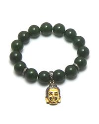 Joyce Gold Designs | Green Jade Bracelet 12mm With Pave Set Champagne Diamond Beads And 24kt Vermeil Buddha With Champagne Diamonds, Approximately 1 Ct. | Lyst