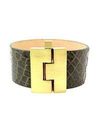 Leighelena | Brown Wide Premium Chocolate Crocodile Bracelet | Lyst