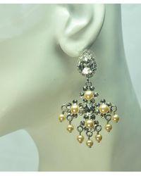 Otazu - Metallic Swarovski Crystal And Pearl Chandelier Earring - Lyst