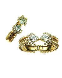Otazu | Metallic Swarovski Crystal Encrusted Gold Tone Cuff | Lyst