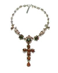 Otazu - Green Swarovski Crystal Cross Necklace - Lyst