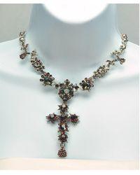 Otazu - Green Swarovski Crystal Cross Necklace - Lyst