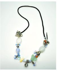 Otazu | Multicolor Elephant And Butterfly Swarovski Crystal And Stone Necklace | Lyst