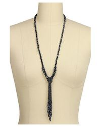 Saachi - Blue Crystal Knotted Tassel Necklace - Lyst