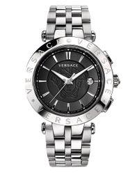 Versace - Metallic V-race 3 Hands Stainless Steel Case Black Dial Bracelet Watch - Lyst