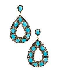 Vanhi - Metallic Gold Plated Sterling Silver Turquoise & Pave Diamond Open Teardrop Earrings - Lyst