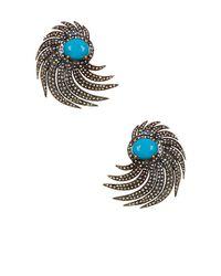 Vanhi | Metallic Gold Vermeil Diamond & Turquoise Drop Earrings | Lyst