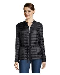 Moncler - Black Quilted Belted Zip Front Down Jacket - Lyst