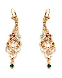 Peermont | Metallic Gold And Crystal Elements Flower Drop Earrings | Lyst