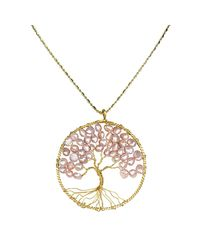 Aeravida | Pink Eternal Tree Of Life Brass Long Necklace | Lyst