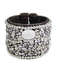 Aeravida | White Cotton Rope Mosaic Stone Brass Wire Adjustable Cuff | Lyst