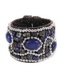 Aeravida - Blue Cotton Rope Mosaic Stone Brass Wire Adjustable Cuff - Lyst