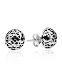 Aeravida | Metallic Filigree Swirl Dome Sterling Silver Post Earrings | Lyst
