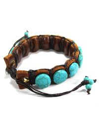 Aeravida | Blue Round Stones Leather Pull Slide Bracelet | Lyst